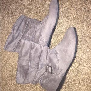 Ruffled Gray Booties